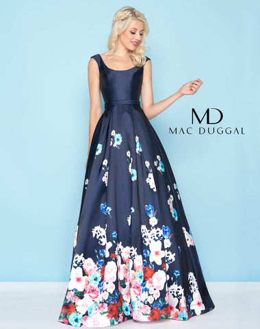Mac Duggal 65812H Prom Dress Navy/Multi-Color