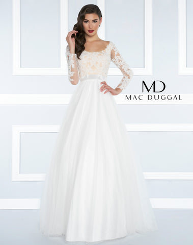 Mac Duggal Prom Dress 65841R Ivory/Nude