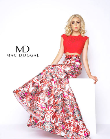 Mac Duggal 65935A Prom Dress Red/Multi-Color