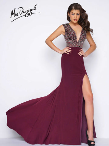 Prom Dress Mac Duggal 66048M Burgundy