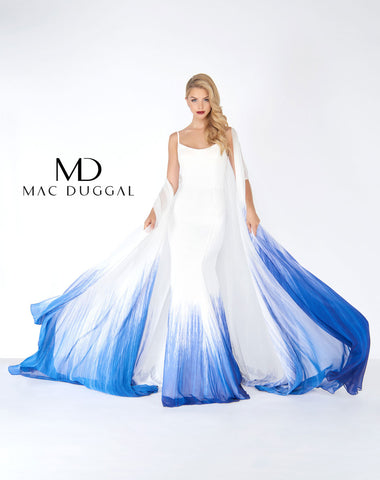 Mac Duggal 66165R Prom Dress Ivory/Blue