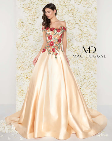 Mac Duggal 66185D Prom Dress Champagne Floral