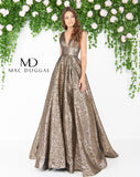 Mac Duggal 66217D Prom Dress Antique Gold