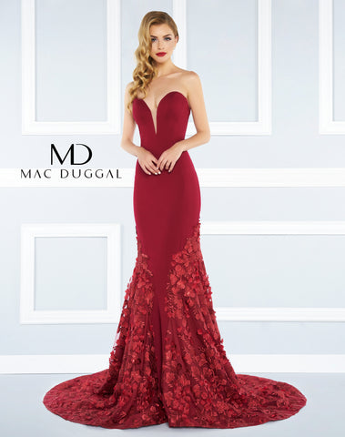 Mac Duggal Prom Dress 66218R Deep Red