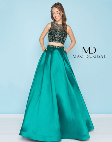 Mac Duggal 66311H Prom Dress Emerald/Black