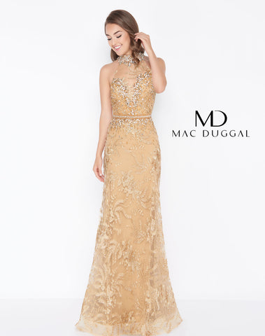 Mac Duggal 66461M Prom Dress Gold