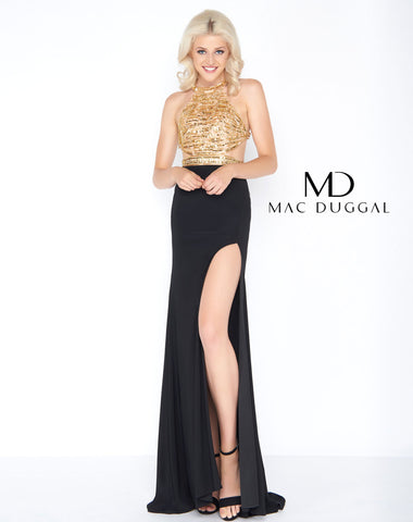 Mac Duggal 66525A Prom Dress Black/Gold