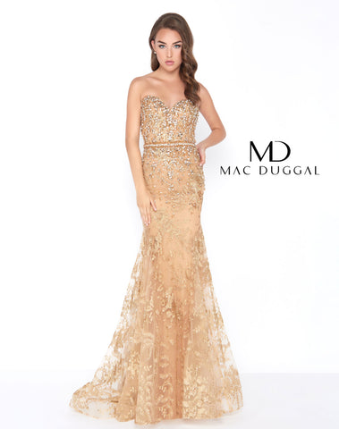 Mac Duggal 66547 Prom Dress Gold