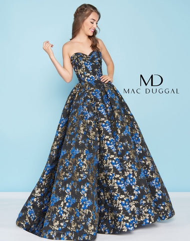 Mac Duggal 66555H Prom Dress Royal/Black