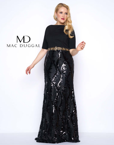 Mac Duggal 77118F Prom Dress Black