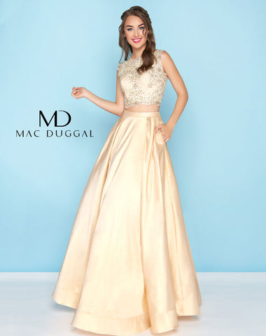 Mac Duggal 77124H Prom Dress Gold
