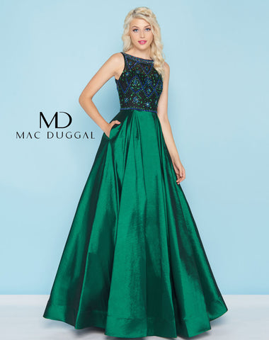 Mac Duggal 77125H Prom Dress Emerald