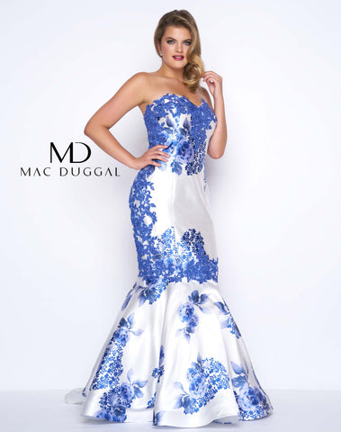 Mac Duggal 77173F Prom Dress Blue Floral