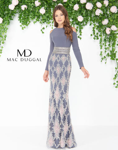 Mac Duggal 77215D Prom Dress Charcoal