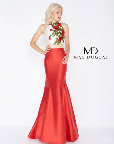 Mac Duggal 77408A Prom Dress Red Cream