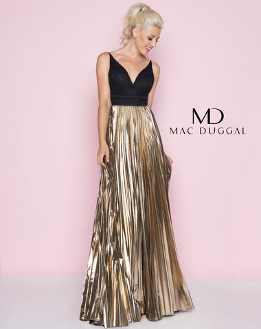 Mac Duggal 77428L Prom Dress Black/Gold