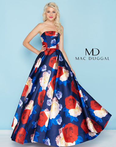 Mac Duggal 77459H Prom Dress Navy Rose
