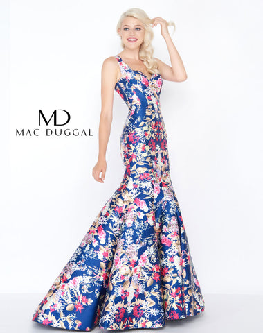 Mac Duggal 79136M Prom Dress Midnight Meadow Floral