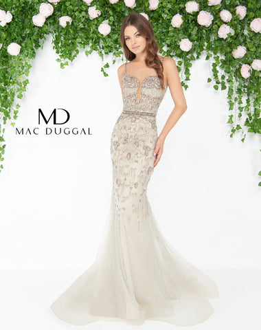 Mac Duggal 79180D Prom Dress Crystal Taupe