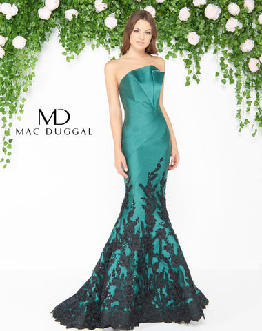 Mac Duggal 80761D Prom Dress Emerald/Black