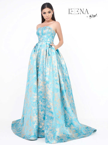 Mac Duggal 8878I Prom Dress Ocean/Gold