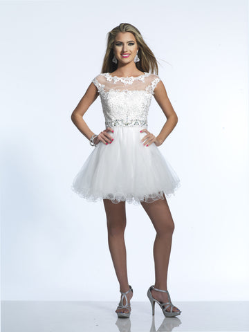 Dave & Johnny 9750 Homecoming Dress Ivory