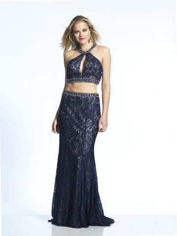 Dave & Johnny 1613 Two-Piece Lace Gown