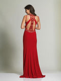 Dave & Johnny 1614 High Neck Tie Red Prom Dress