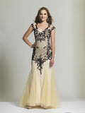 Dave & Johnny 2063 Nude/Black Prom Dress
