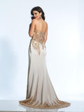 Prom Dress Dave & Johnny 2322 Champagne Back