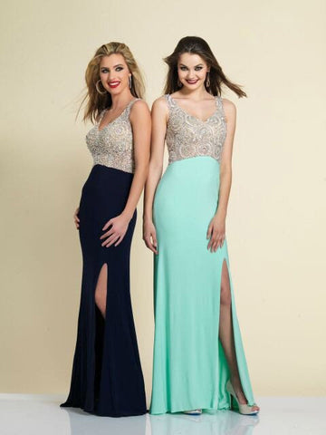 Prom Dress Dave & Johnny 2338 Navy & Aqua