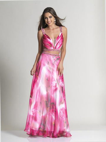 Dave & Johnny 2548 Prom Dress Pink Print