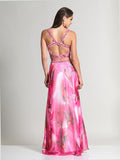 Dave & Johnny 2548 Pink Print Prom Dress Back