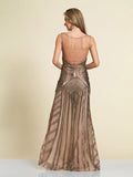 Dave & Johnny 2634 Coffee Prom Dress Back