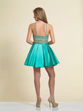 Homecoming Dress Dave & Johnny 3075 Aqua Back