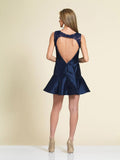 Homecoming Dress Dave & Johnny A4001 Navy Back