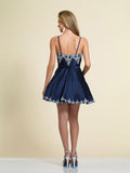 Dave & Johnny A4203 Homecoming Dress Navy Back