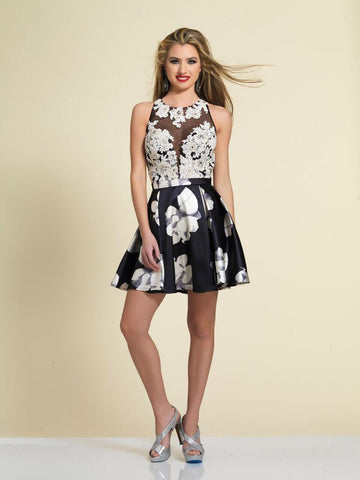 Dave & Johnny A4224 Homecoming Dress Black Print