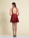Homecoming Dress Dave & Johnny A4311 Burgundy Back