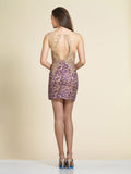 Homecoming Dress Dave & Johnny A4341 Purple Gold Back