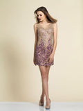 Homecoming Dress Dave & Johnny A4341 Purple Gold