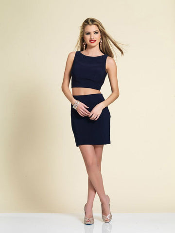 Dave & Johnny A4363 Homecoming Dress Navy
