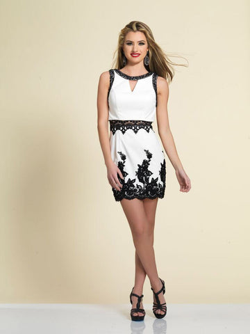 Dave & Johnny A4388 Homecoming Dress White