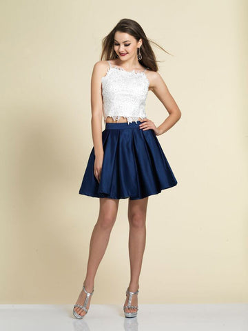 Dave & Johnny A4524 Homecoming Dress Navy/White