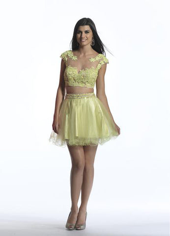 Dave & Johnny 784 Lime Green Homecoming Dress