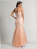 Dave & Johnny 920 Peach Prom Dress Back