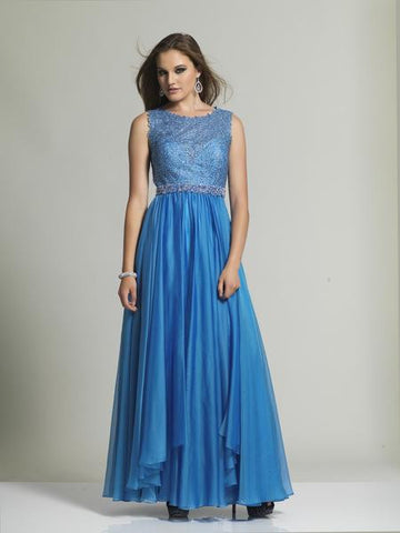 Dave & Johnny 1628 Blue Sleevless Prom Dress