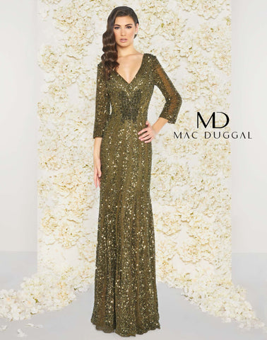Mac Duggal 4247D Prom Dress Olive