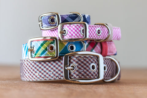 Gingham and plaid traditional dog collars handcrafted from reclaimed materials by Oxford Dogma