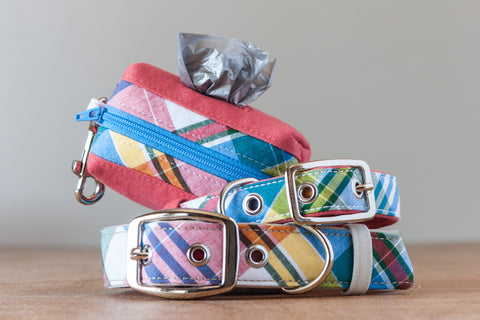 Madras plaid dog collars and poo bag dispenser handcrafted from reclaimed materials by Oxford Dogma